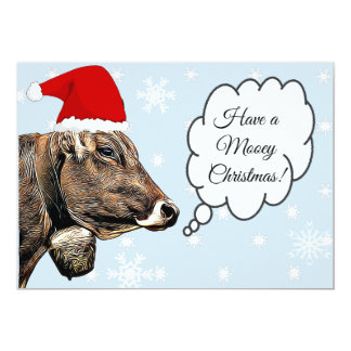 Have a MOOey Christmas Funny Cow Christmas Card