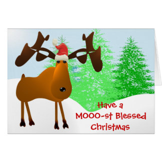 Have a MOOO-st Blessed Christmas Card