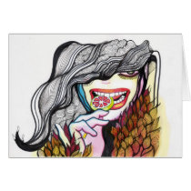 cool, artsprojekt, smile, teeth, sweet, dark, jocker, happy, lollipop, girl, ink, drawing, patricia, vidour, creative, artistic, illustration, people, woman, face, bird, gothic, macabre, sweets, portrait, illustrations, grownup, female, person, valediction, aquatic, young, wish, enjoy, teen, Card with custom graphic design