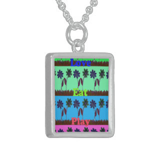 Have a Nice Day Eat Love Play colorful ideas Sterling Silver Necklace