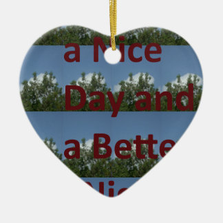 Have a nice day.png Double-Sided heart ceramic christmas ornament