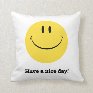 Have a nice day retro smiley face pillow