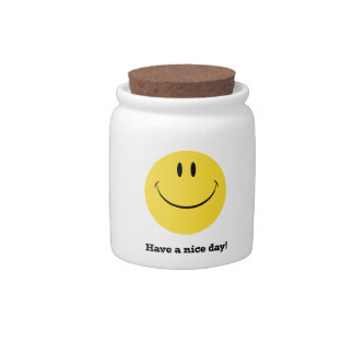 Have a nice day retro smiley face storage jar candy dish