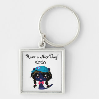 Have a Nice Day!, XOXO -txt line art,cartton Silver-Colored Square Keychain