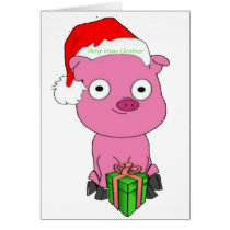 Have a pink pig vegan Christmas Card