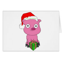 Have a pink pig vegan Christmas Card