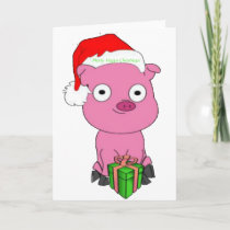 Have a pink pig vegan Christmas Holiday Card