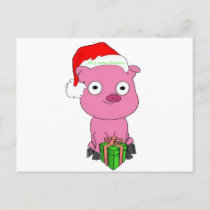 Have a pink pig vegan Christmas Holiday Postcard