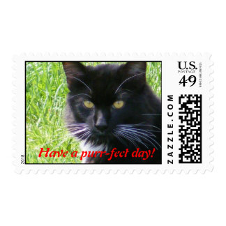 Have a purr-fect day! Cat Postage Stamp