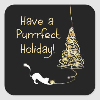 Have a Purrrfect Holiday Square Sticker