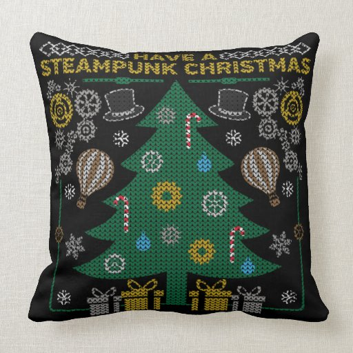 Have a Steampunk Christmas Ugly Sweater Pillow