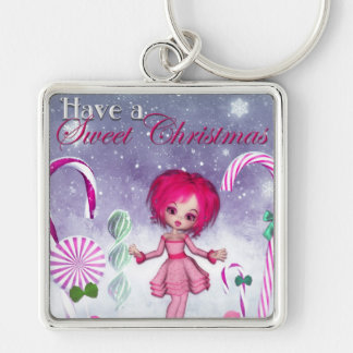 Have a Sweet Christmas :: Pink Cookie Poser Girl Keychain