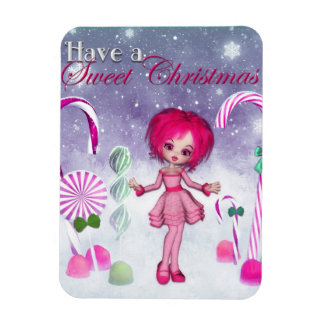 Have a Sweet Christmas :: Pink Cookie Poser Girl Magnet