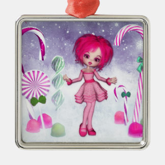 Have a Sweet Christmas :: Pink Cookie Poser Girl Metal Ornament