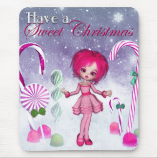 Have a Sweet Christmas :: Pink Cookie Poser Girl Mouse Pad