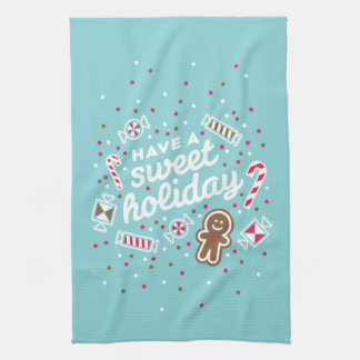 Have a Sweet Holiday Christmas Blue Kitchen Towel
