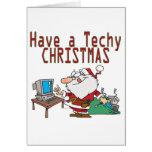 have a techy christmas computer geek santa card