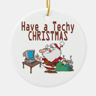 have a techy christmas computer geek santa ceramic ornament