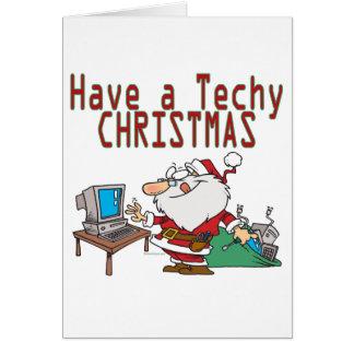 have a techy christmas computer geek santa greeting card