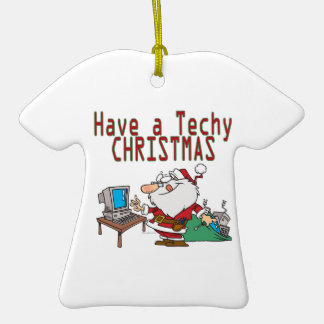 have a techy christmas computer geek santa Double-Sided T-Shirt ceramic christmas ornament