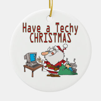have a techy christmas computer geek santa Double-Sided ceramic round christmas ornament