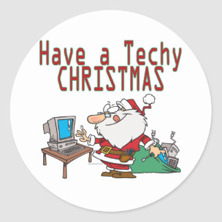 have a techy christmas computer geek santa stickers