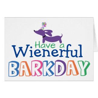 Have a Wienerful Barkday Birthday Wiener Dog Note Card