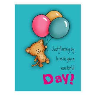 Have a wonderful day - Cat with Balloons - Postcard