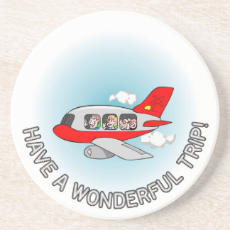 Have a wonderful trip! Airplane with passengers Beverage Coaster