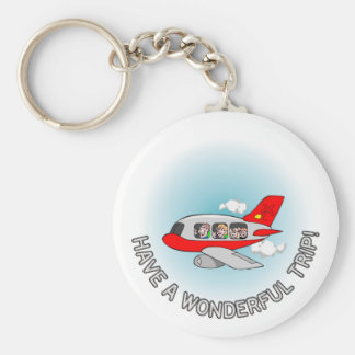 Have a wonderful trip! Airplane with passengers Key Chains