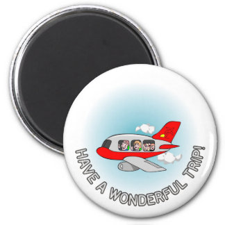 Have a wonderful trip! Airplane with passengers Fridge Magnet