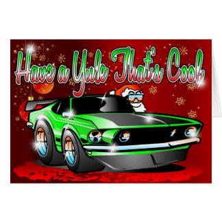 Have a Yule Thats Cool - Pony Car Santa Xmas Card