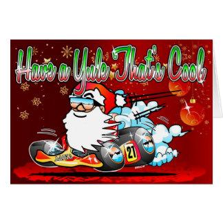 Have a Yule Thats Cool - Santa GoKart Cartoon Xmas Card