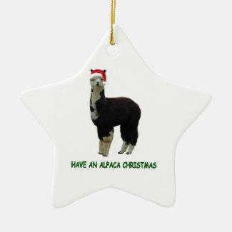 Have an alpaca Christmas Double-Sided Star Ceramic Christmas Ornament