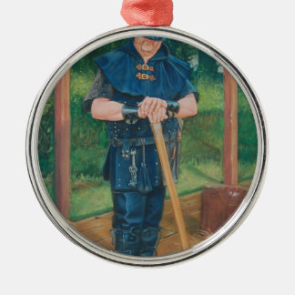 Have axe, will travel! metal ornament