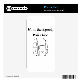 Have Backpack Will Hike Decal For iPhone 4