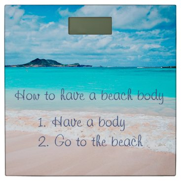 """Beach Themed """"Have beach body"""" funny quote photo bathroom scale"""