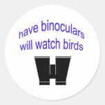 have binos will watch birds classic round sticker