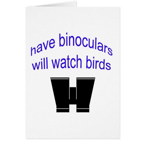 have binos will watch birds greeting card