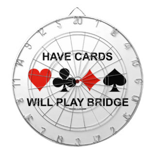 Have Cards Will Play Bridge (Four Card Suits) Dartboard With Darts