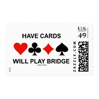 Have Cards Will Play Bridge (Four Card Suits) Postage