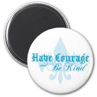 Have Courage & Be Kind - Fleur-de-Lis - Blue Text Magnet