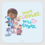 Have Cuddles Will Share Square Sticker at Zazzle