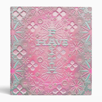 Have Faith Cross with pink teal flowers 3 Ring Binder
