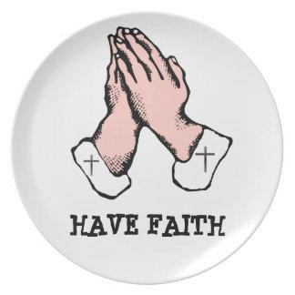 Have Faith Hands Cross Pray Plate