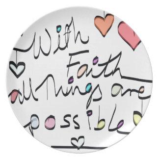 Have Faith. Quote word message colour design Melamine Plate