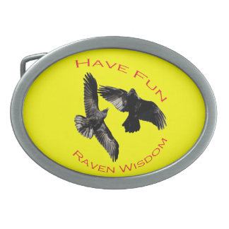 Have Fun...Raven Wisdom Oval Belt Buckle