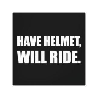 Have Helmet Will Ride White Canvas Print