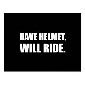 Have Helmet Will Ride White Postcard