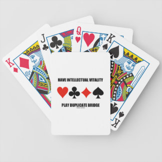 Have Intellectual Vitality Play Duplicate Bridge Bicycle Playing Cards